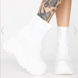White platform wedge  patent booties